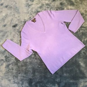 Lord & Taylor Cashmere Lilac Purple V-neck Sweater